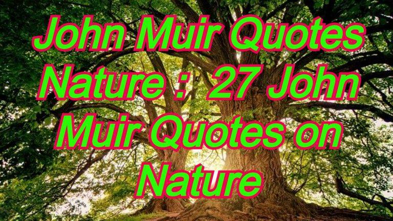 John Muir Quotes Nature