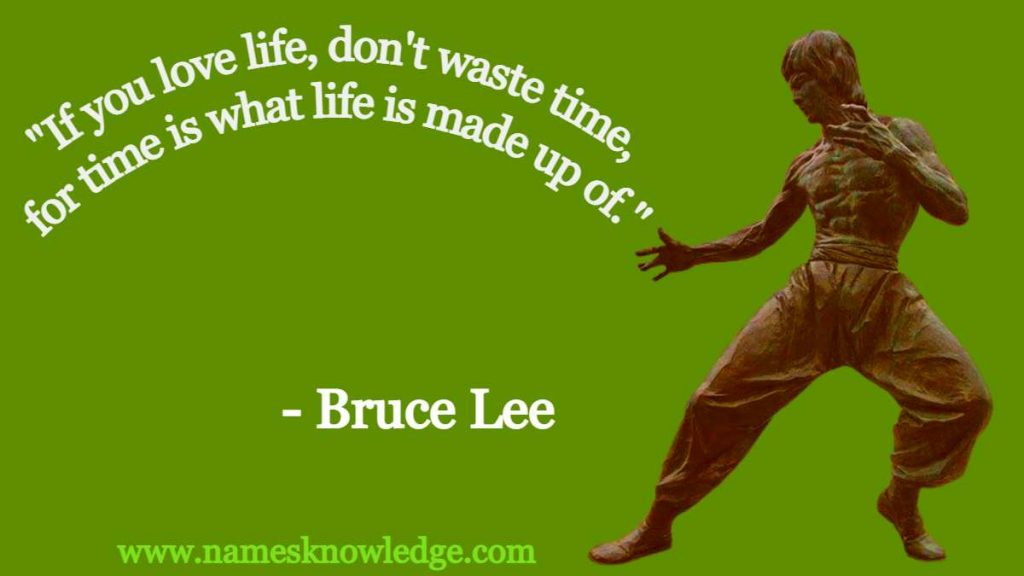 """Bruce Lee Quotes - """"If you love life, don't waste time, for time is what life is made up of."""""""