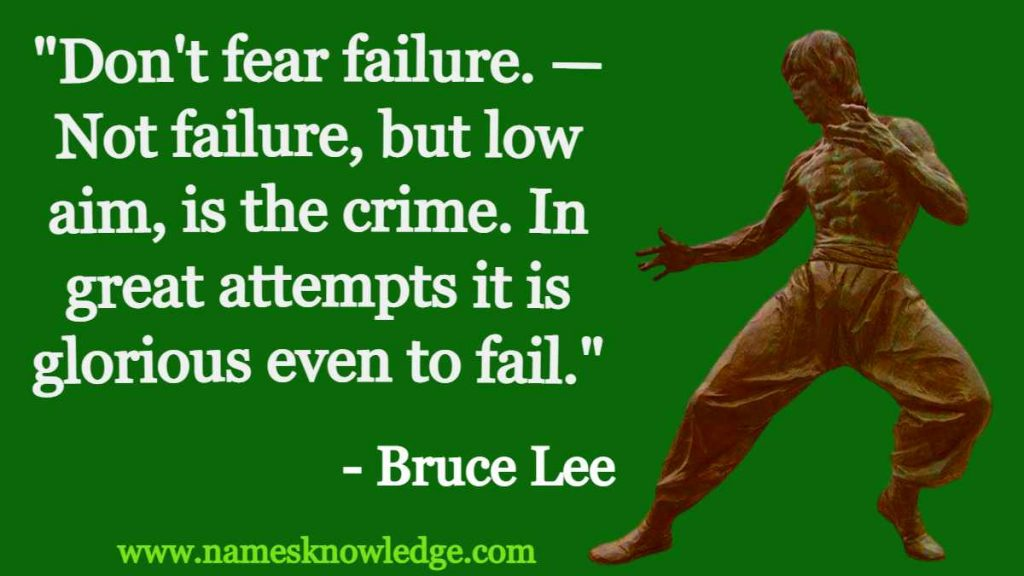 """""""Don't fear failure. — Not failure, but low aim, is the crime. In great attempts it is glorious even to fail."""""""