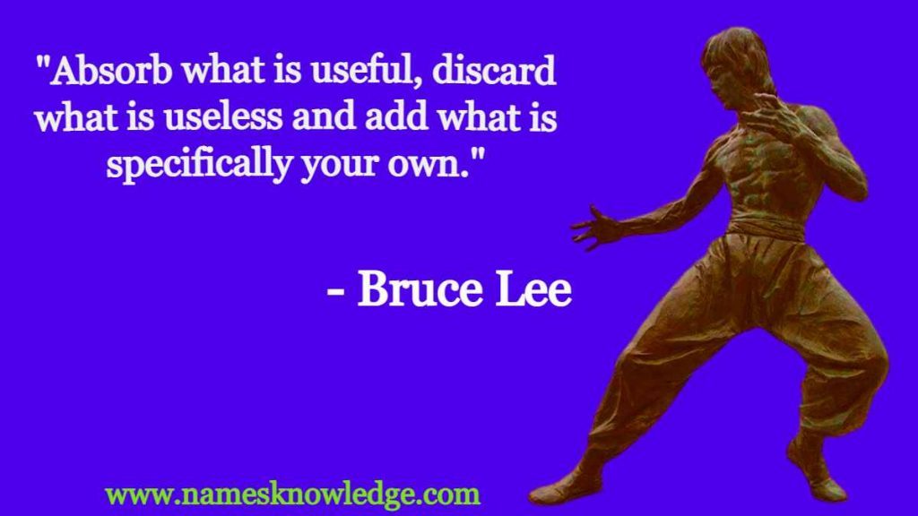 """""""Absorb what is useful, discard what is useless and add what is specifically your own."""""""