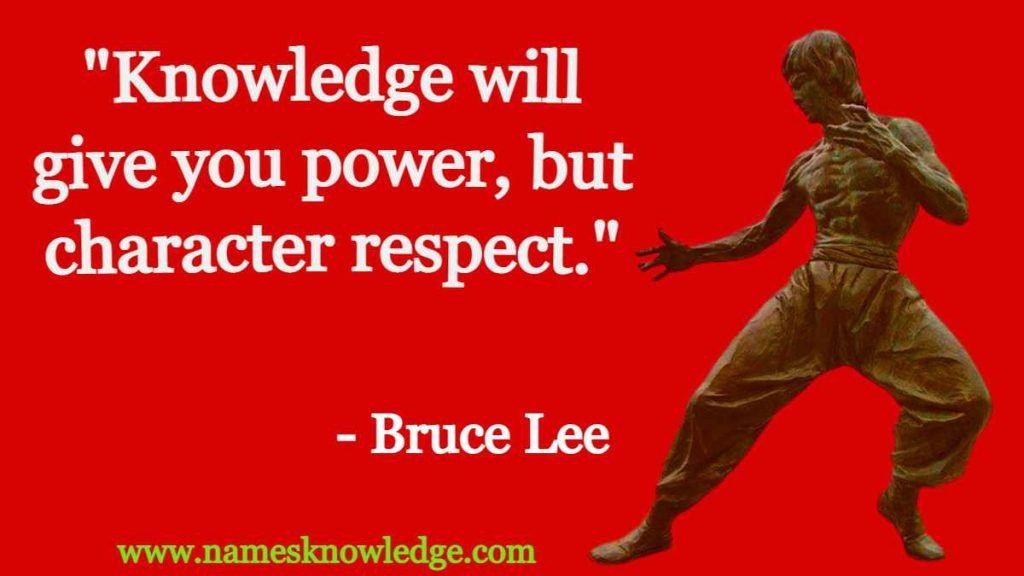 """Bruce Lee Quotes - """"Knowledge will give you power, but character respect."""""""