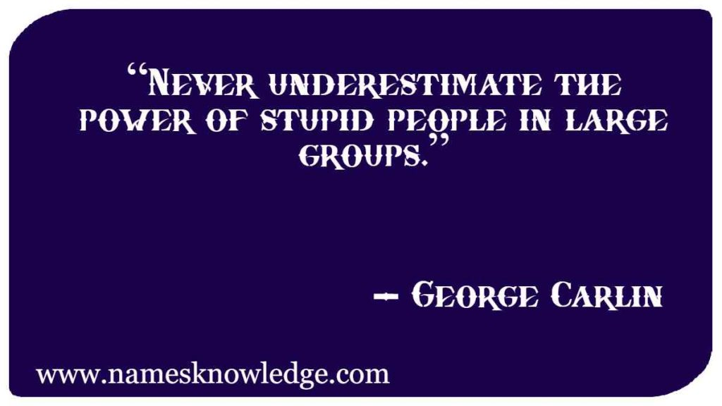 """George Carlin Quotes - """"Never underestimate the power of stupid people in large groups."""""""