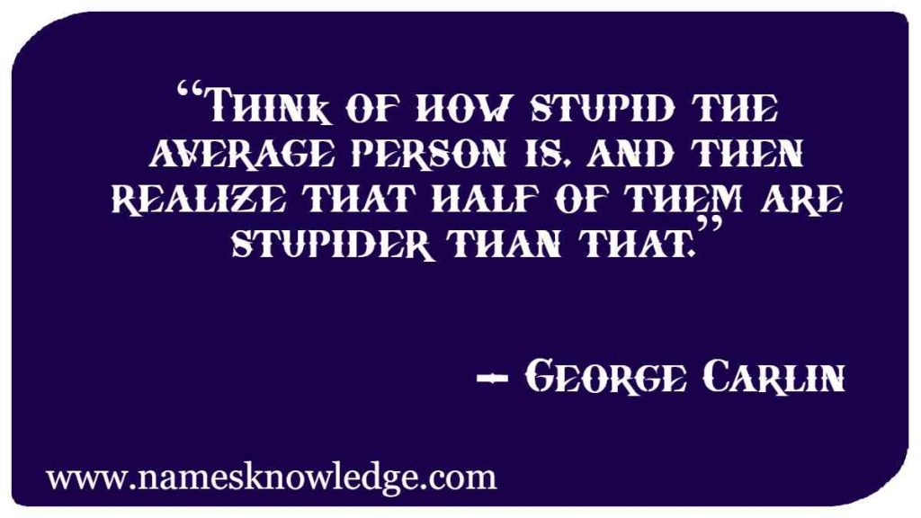 """""""Think of how stupid the average person is, and then realize that half of them are stupider than that."""""""