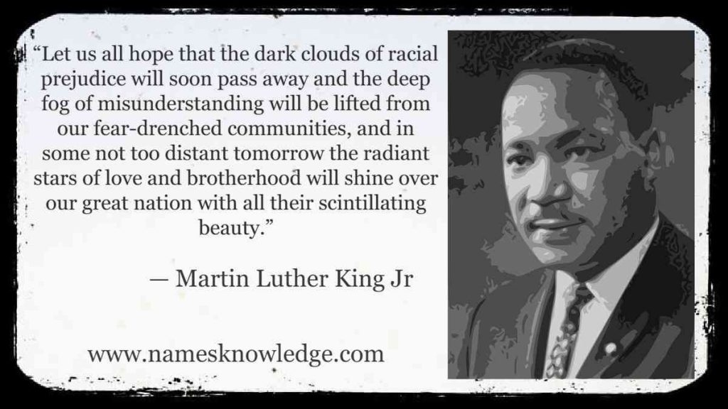 """""""Let us all hope that the dark clouds of racial prejudice will soon pass away and the deep fog of misunderstanding will be lifted from our fear-drenched communities, and in some not too distant tomorrow the radiant stars of love and brotherhood will shine over our great nation with all their scintillating beauty."""""""