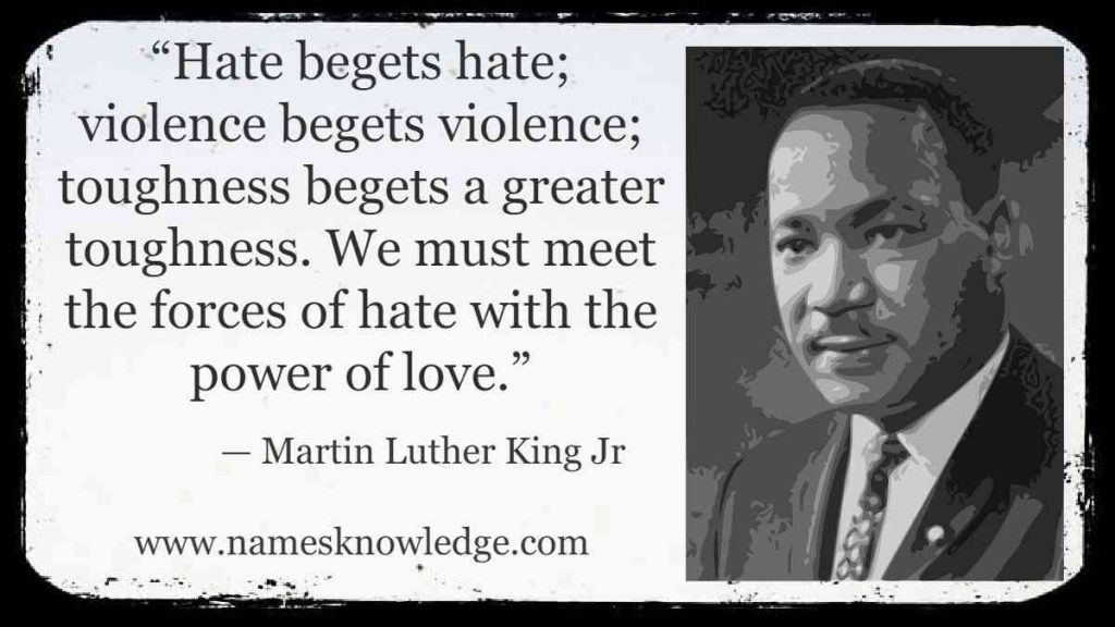"""""""Hate begets hate; violence begets violence; toughness begets a greater toughness. We must meet the forces of hate with the power of love."""""""
