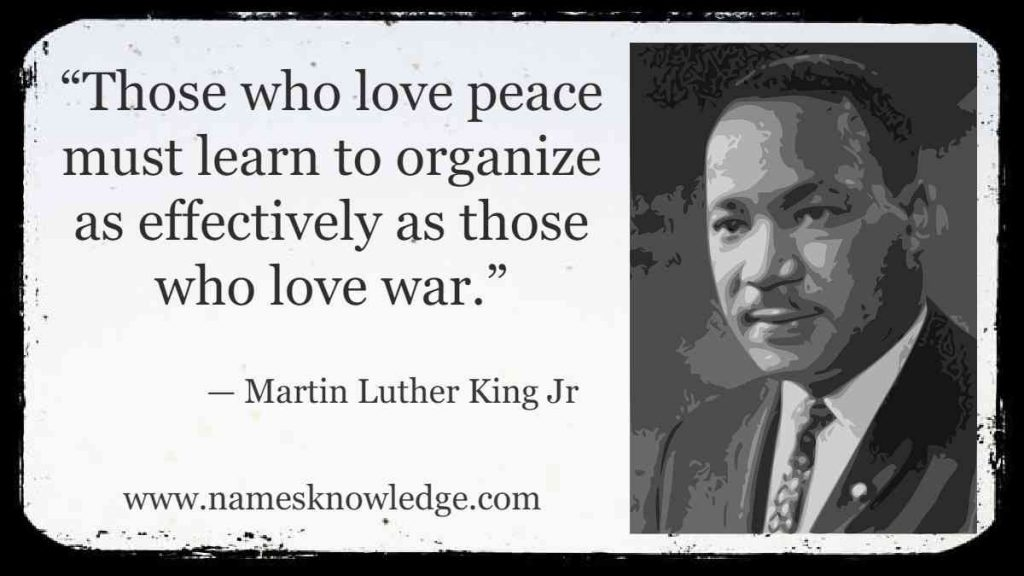 """""""Those who love peace must learn to organize as effectively as those who love war."""""""