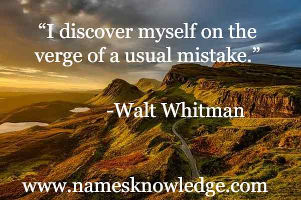 """""""I discover myself on the verge of a usual mistake."""""""