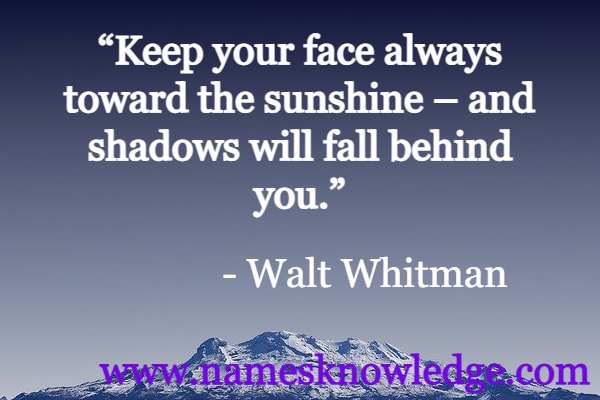 """""""Keep your face always toward the sunshine – and shadows will fall behind you."""""""