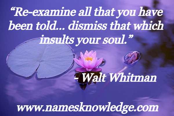 """""""Re-examine all that you have been told… dismiss that which insults your soul."""""""