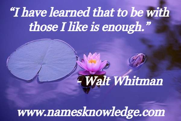 """""""I have learned that to be with those I like is enough."""""""