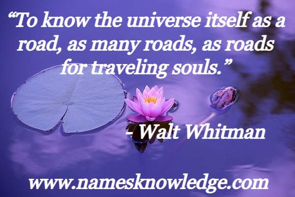 """""""To know the universe itself as a road, as many roads, as roads for traveling souls."""""""